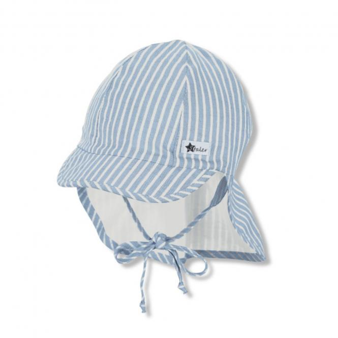 Baby Jungen Schirmmütze mit Nackenschutz zum Binden USF 30 gestreift, hellblau - 1612132