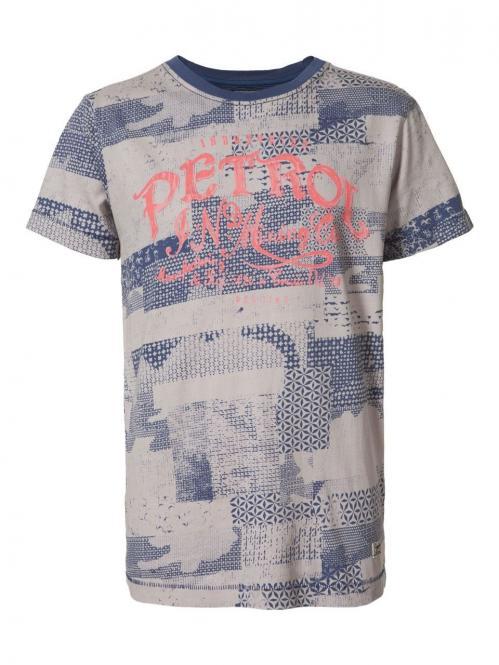 Jungen T-Shirt kurzarm blau-natur gemustert, mehrfarbig - B-SS17-TSR672
