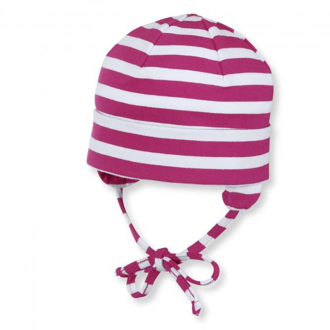 Baby Mädchen Beanie Erstlingsmütze Sommermütze mit Streifen gemustert, magenta - 1501700