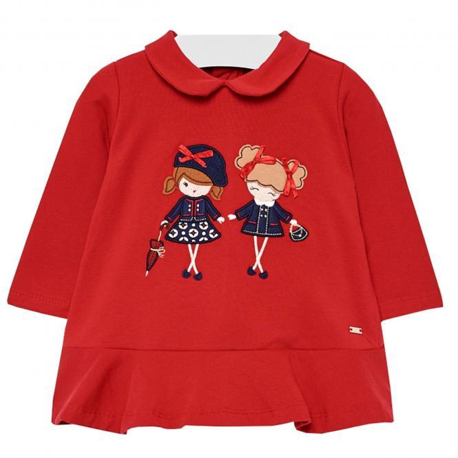 Mädchen Kleid mit Kragen, rot - 2.936r