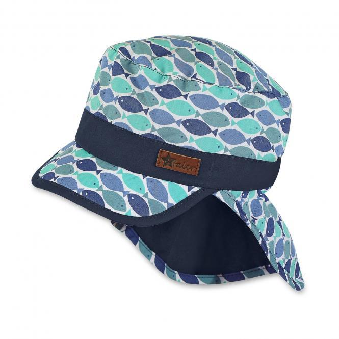 Schirmmütze mit Nackenschutz Jungen Fische, jeansblau - 1611846