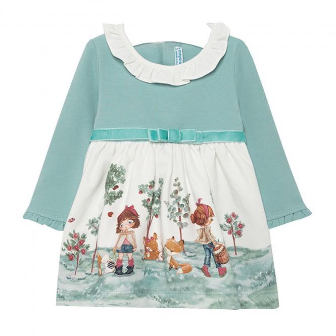 """Mädchen Baby Kleid langarm Winterkleid mit Hemdkragen und Gürtel zum knöpfen """"Garten Mädchen"""", türkis - 2.968"""