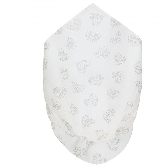 """Baby Mädchen Kopftuch mit Schirm zum Binden UV-Schutz """"Herzen"""" ,weiß - 1452110"""