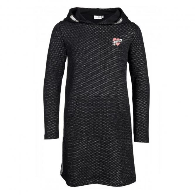 Eisend-Mädchen Langarm Kleid einfarbig- Schwarz- gepunktet-503303