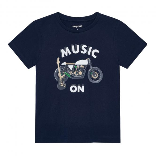 "Jungen T-Shirt Sommershirt kurzarm reflektierend ""Music on Motorrad"", dunkelblau - 3.049"