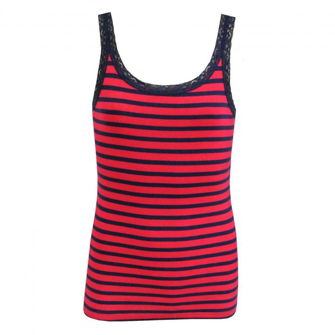 Mädchen Unterhemd Tank Top gestreift, dunkelrot
