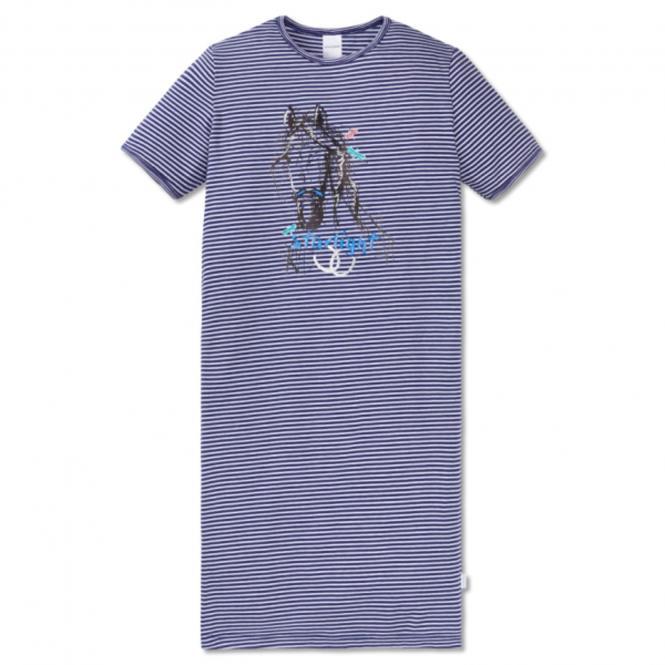 Nachthemd kurzarm Mädchen gestreift Pferd, weiss - 161221