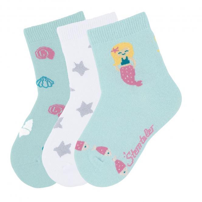 "Mädchen 3 Paar Söckchen Glitzer-Socken 3er-Pack ""Meerjungfrau"", helltürkis – 8322023"
