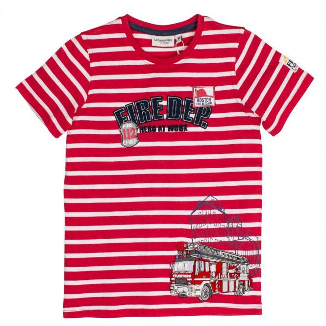 Salt&Pepper Jungen T-shirt kurzarm mit Feuerwehr-Motiv, rot – 93111155