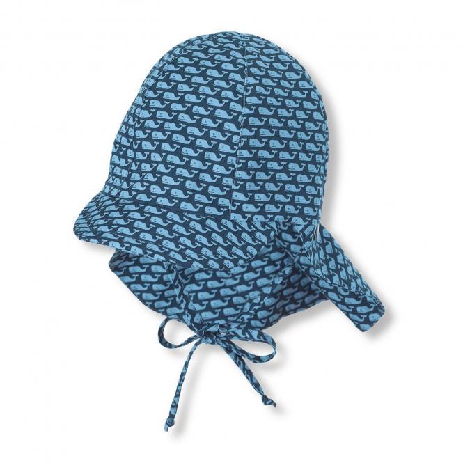 """Jungen Baby Kinder Schirmmütze zum Binden LSF UV-Schutz 50+ Sommermütze Schildmütze mit Nackenschutz """"Wale"""", marineblau – 1612032"""