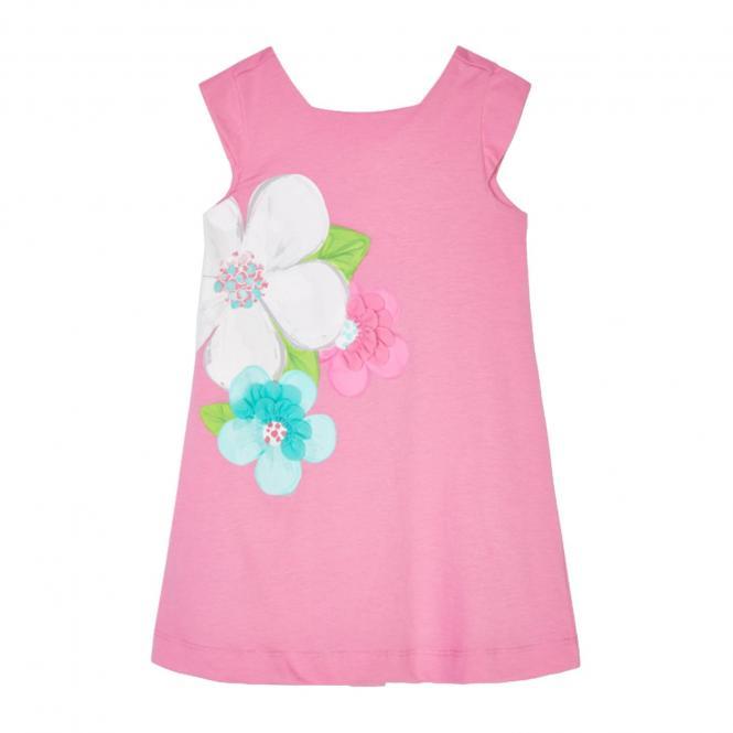 "Mädchen Sommerkleid kurzärmelig ""Blumen - gerüscht"", rosa - 3.956"