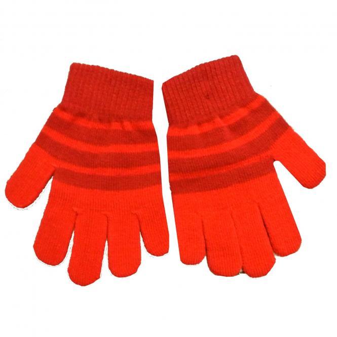 Kinder Fingerhandschuhe Mädchen Strick gestreift, rot - 9503803