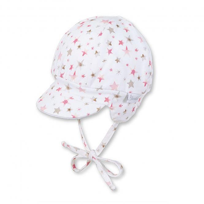 Baby Beanie Schildmütze Mädchen Sterne, weiß - 1501815