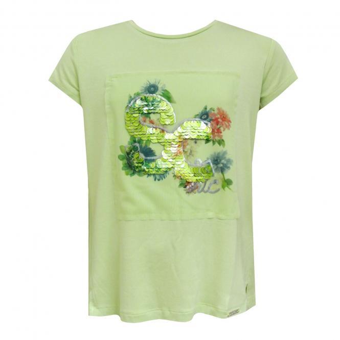 Mächen T-Shirt mit Pailletten Mayoral, grün - 6047