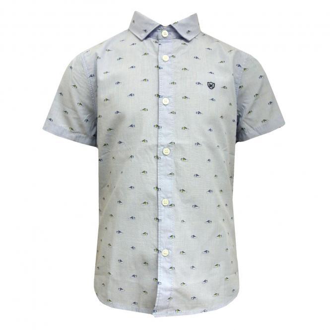 Jungenhemd Hemd kurzarm festlich Schuhdruck, hellblau - 3141