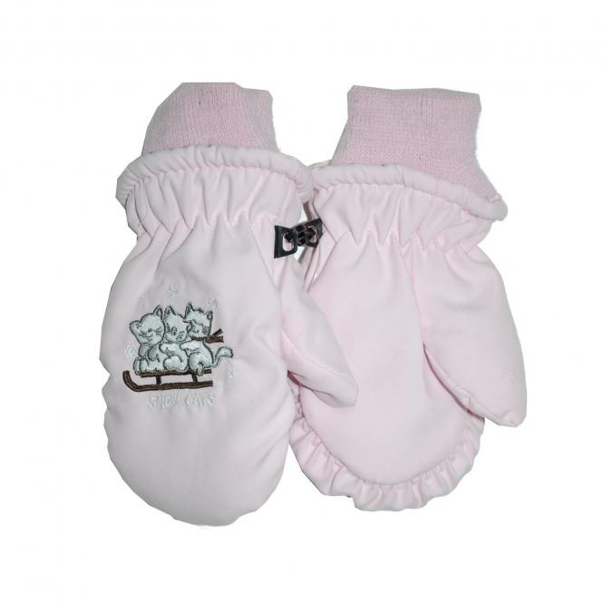 Baby Mädchen Katzen Fausthandschuh, rosa