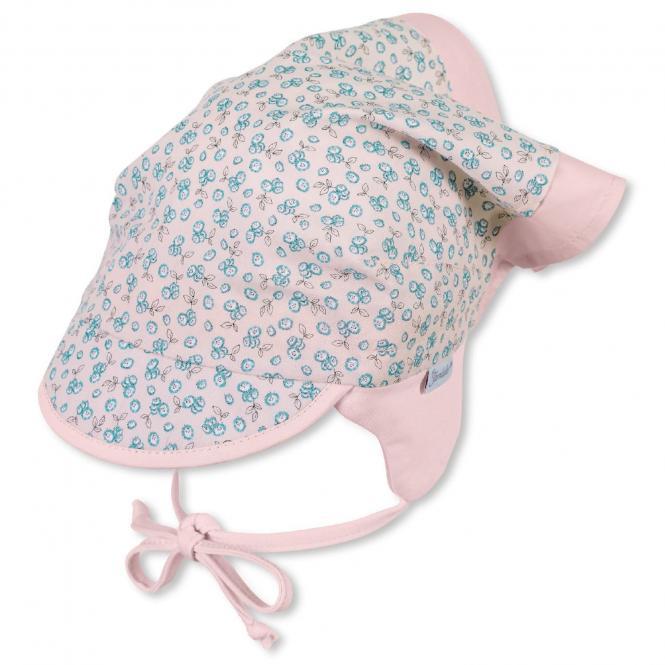 Mädchen Kopftuch zum Binden mit Schirm, rosa mit Blümchen, LSF 30 - 1451912