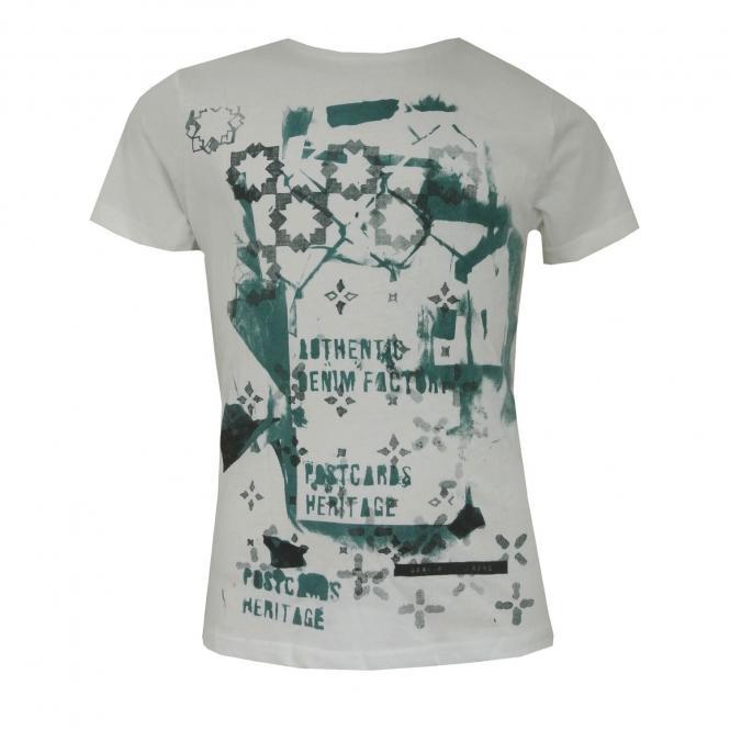 Jungen T-Shirt kurzarm mit grünen Aufdruck, weiß
