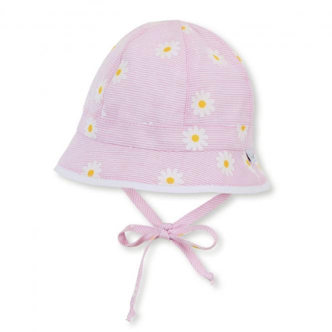 """Mädchen Baby Kinder Sonnenhut mit LSF UV-Schutz 15 Fischerhut zum Binden mit Ohrenklappen """"Blumen/gestreift"""", rosa – 1402016"""