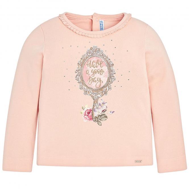 Mädchen Shirt mit langen Armenund Motiv, rosa - 4.046r
