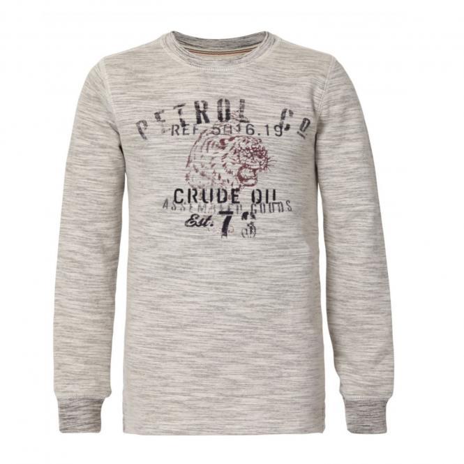Jungen Pullover Sweater Sweatshirt Langarmshirt Petrol Ind., beige hellgrau mel. - B-3090-SWR326