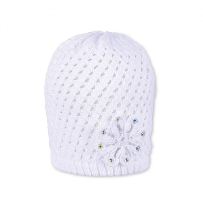 Mädchen Mütze, Strickmütze, weiß Blume - 1711911