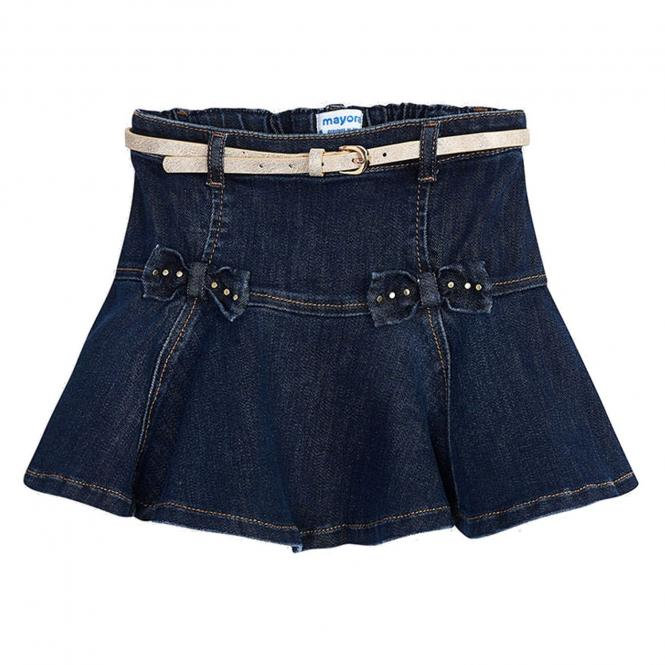 Mädchen Rock Jeansrock kurz mit Gürtel Zierelemente Schleifen, jeansblau - 4.956-jeans