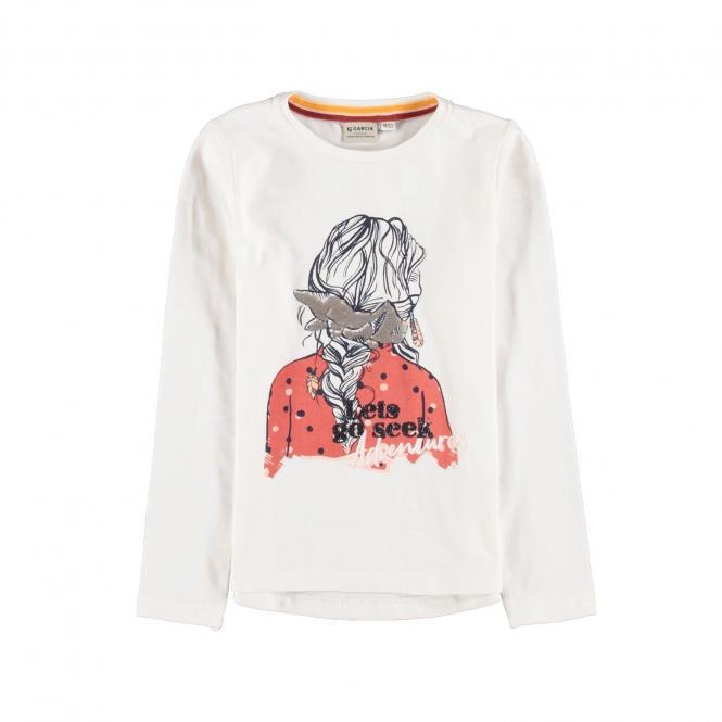Garcia- Mädchen Langarmshirt mit Print-weiß-- V04602