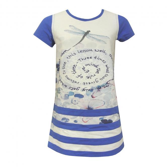 Mädchen Sommerkleid Abendkleid gemustert, blau - kf20117