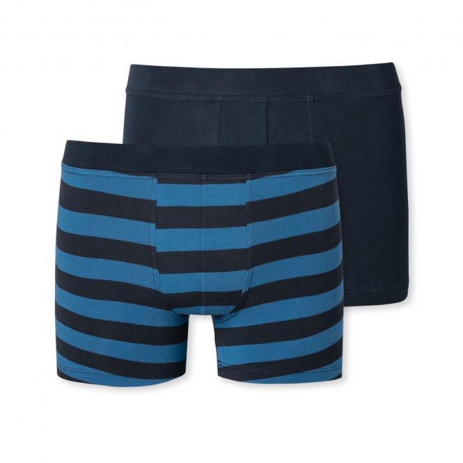 Jungen Unterhose Boxershorts Doppelpack gestreift, dunkelblau/geringelt - 173535
