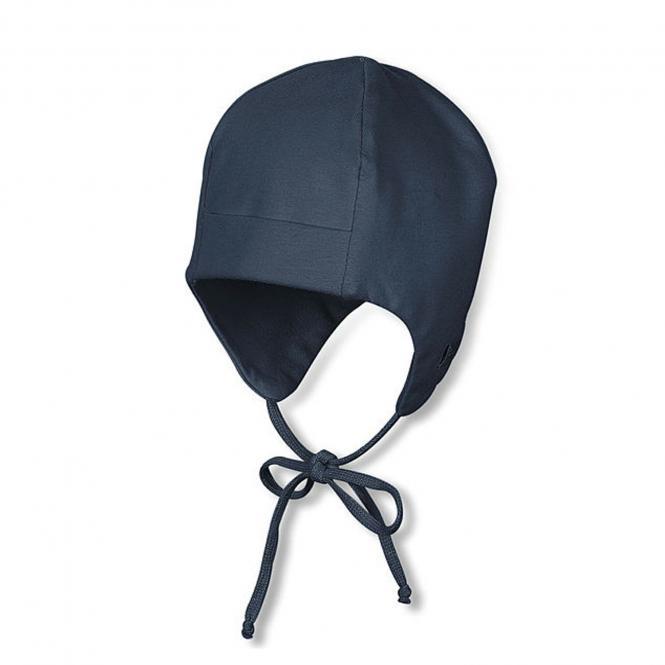 Sterntaler Baby Jungenmütze Erstlingsmütze zum Binden mit Ohrenschutz und UV-Schutz 50+, dunkelblau - 4001455-marin