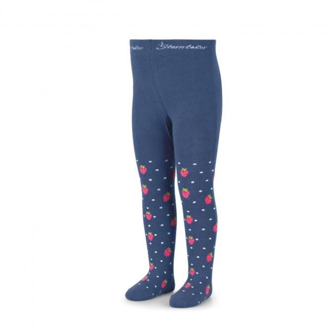 """Mädchen Kinder Baby Strumpfhose """"Erdbeeren"""", blau – 8602101"""