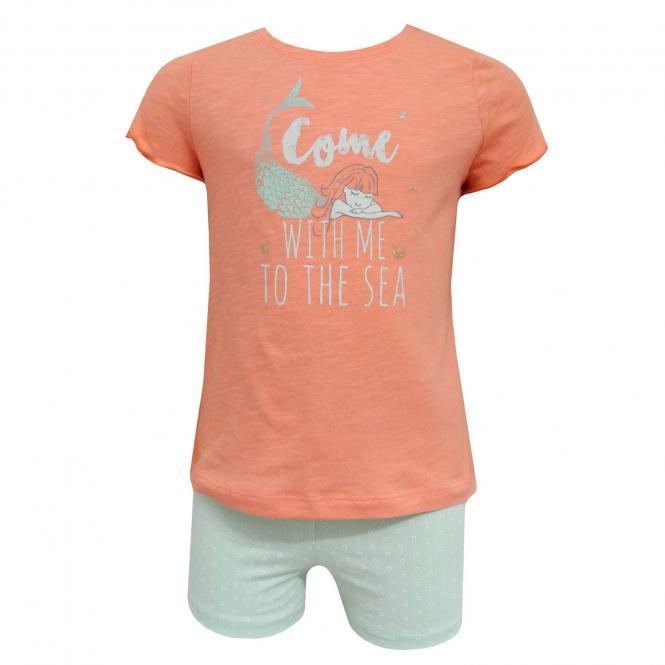 Sanetta Mädchen Sommer Schlafanzug, orange - 231969