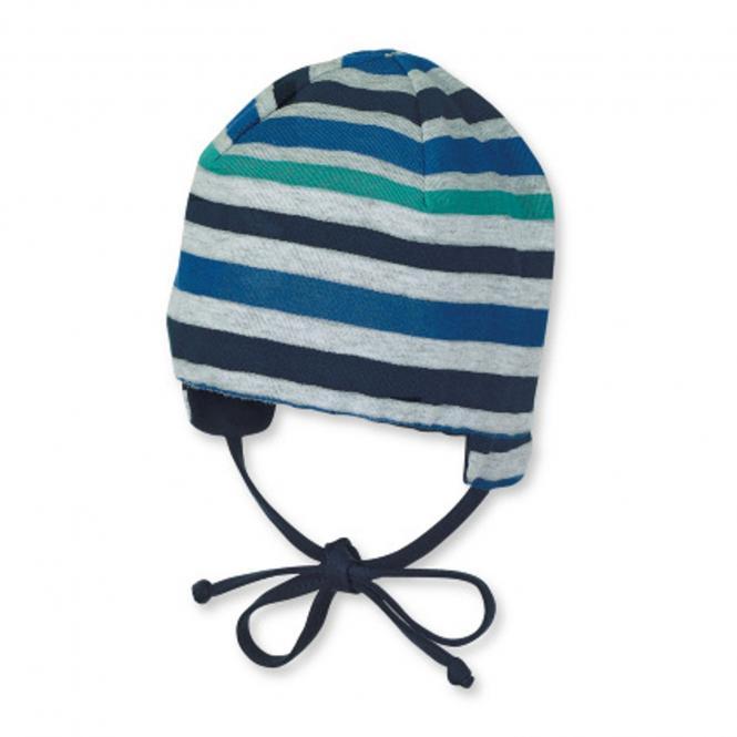 Baby Jungen Wendemütze zum binden mit Ohrenschutz gestreift, blau - 1501802