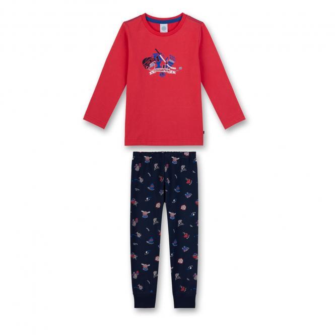 Jungen langer Schlafanzug zweiteilig Eishockey Motiv, blau-rot - 232177
