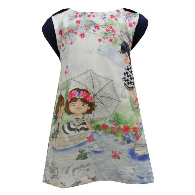 Baby Mädchen Kleid ärmellos Frühlingskleid Tunika, blau