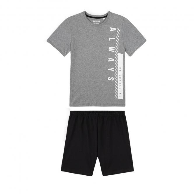 """Sanetta Jungen kurzer Schlafanzug 100% Baumwolle """"always"""", grau/schwarz – 244934"""
