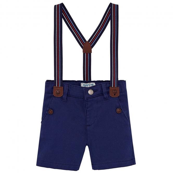 Jungen Baby Bermuda kurze Hose mit Hosenträgern, dunkelblau - 1.244