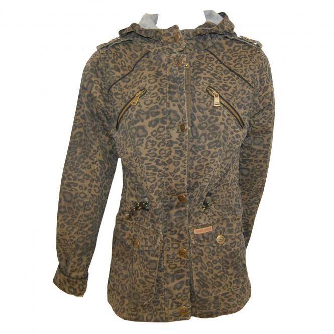 Jacke mit Kapuze Leopardenmuster Mädchen, braun
