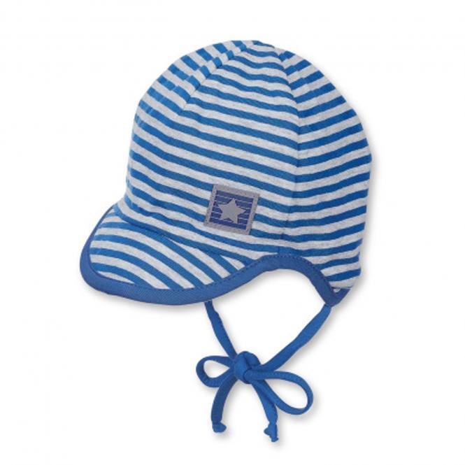 Baby Jungen Schildmütze zum binden mit Ohrenschutz Sternaufnäher, blau - 1611800