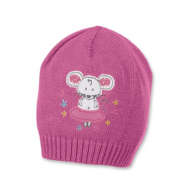 Mädchen Mütze, Strickmütze, pink Maus - 1711910