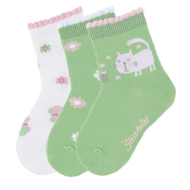 "Mädchen 3 Paar Söckchen Socken 3er-Pack ""Katze/Blumen/Glitzer"", hellgrün - 8322025"