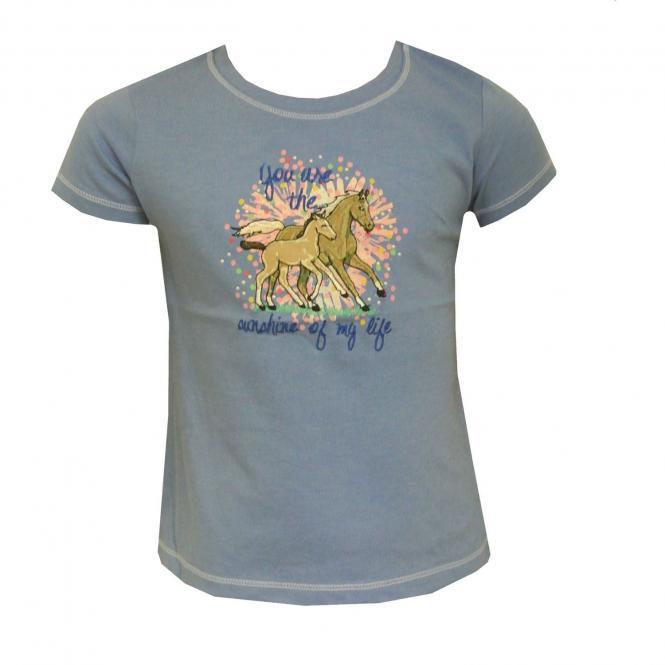 Mädchen T-Shirt Kurzarm Pferdemotiv, blau