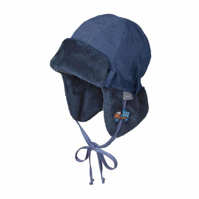 Jungen Mütze Fliegermütze zum Binden mit Ohrenschutz gefüttert, tintenblau - 4601857
