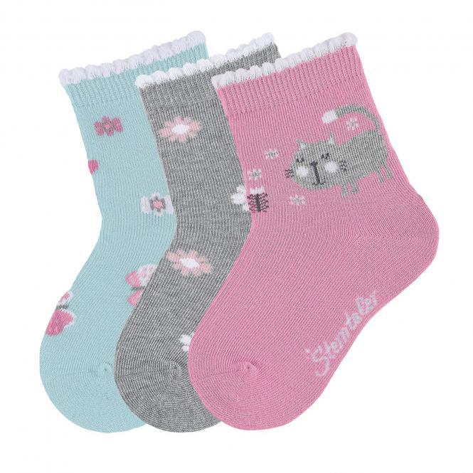 "Mädchen 3 Paar Söckchen Socken 3er-Pack ""Katze/Blumen/Glitzer"", rosa,grau,türkis - 8322025"