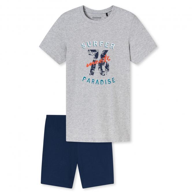 "Jungen Schlafanzug Pyjama kurz Sommer ""Surfer Paradise"", grau meliert - kurz173368"
