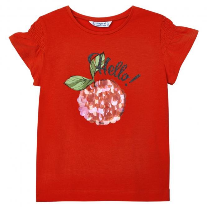 """Mädchen Sommer kurzarm T-Shirt Pailletten """"Kirsche"""", orange - 3019o"""