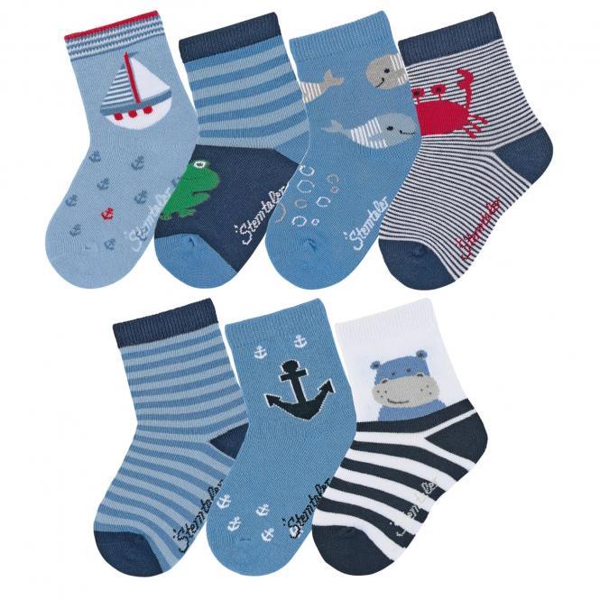 "Jungen Baby 7 Paar Söckchen Baumwoll-Socken 7er-Box ""am Wasser"", marineblau - 8322051"