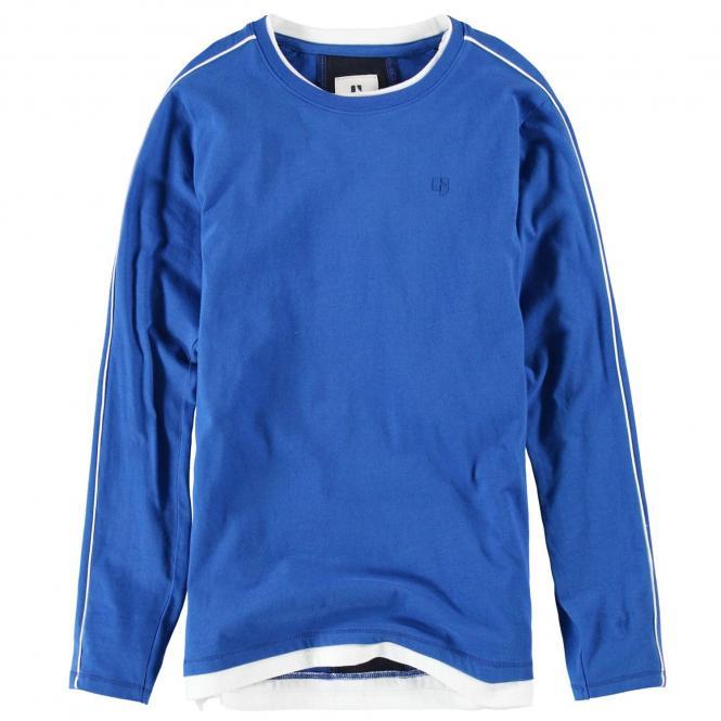 Garcia Jungen T-Shirt Langarmshirt mit dezentem Logo, blau weiß - G93406 2731