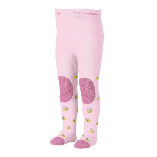 """Mädchen Baby Strumpfhose mit ABS-Noppen Krabbelstrumpfhose mit Po-Motiv """"Biene"""", rosa – 8652006"""